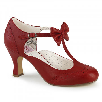 Pin Up Couture FLAPPER-11 Red Faux Leather