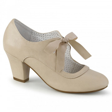 Pin Up Couture WIGGLE-32 Beige Faux Leather