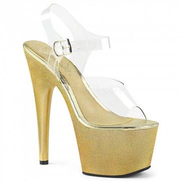 Pleaser ADORE-708HG Clr/Gold Holo Glitter