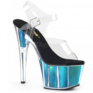 Pleaser ADORE-708HGI Clr/Turquoise Hologram Inserts