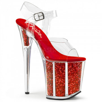 Pleaser FLAMINGO-808G Clr/Red Glitter