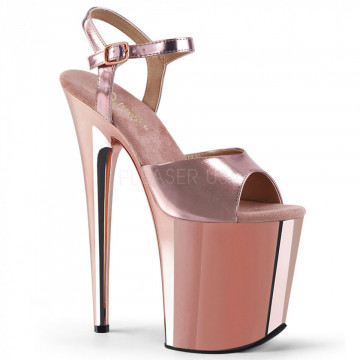 Pleaser FLAMINGO-809 Rose Gold Met. Pu/Rose Gold Chrome