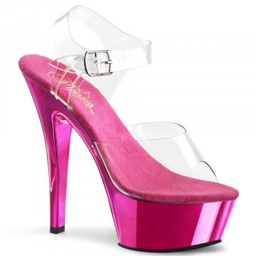Pleaser KISS-208 Clr/H. Pink Chrome