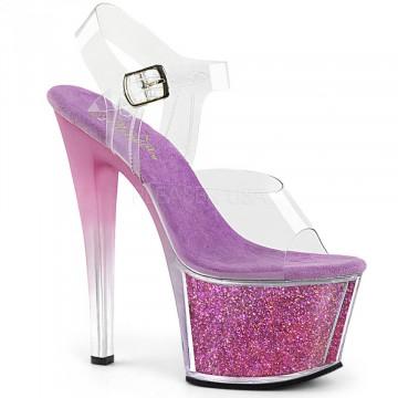 Pleaser SKY-308G-T Clr/Purple Multi Glitter Inserts