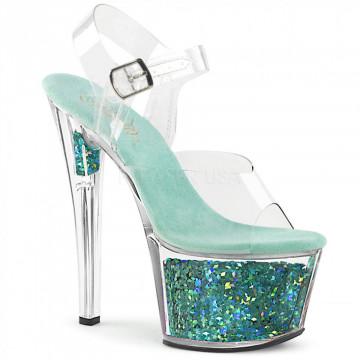 Pleaser SKY-308GF Clr/Turquoise Multi Glitter