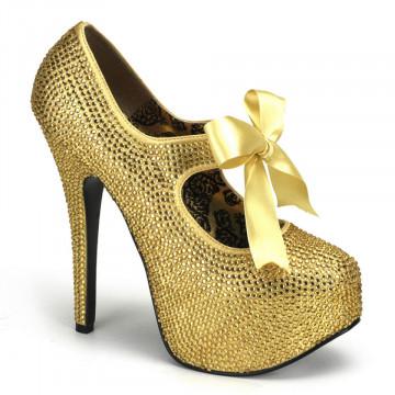 Bordello TEEZE-04R Gold Rhinestones