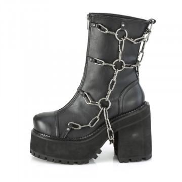 Demonia ASSAULT-66 Blk Vegan Leather SUBITO PRONTE