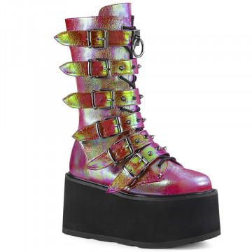 Demonia DAMNED-225 Pink-Green Iridescent Vegan Leather