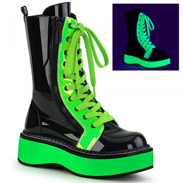 Demonia EMILY-350 Blk Pat-UV Neon Green