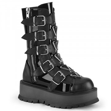 Demonia SLACKER-160 Blk Pat-Vegan Leather