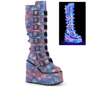 Demonia SWING-815 Purple-Blue Reflective Vegan Leather