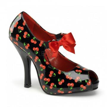 Pin Up Couture CUTIEPIE-07 Blk-Red Pat (Cherries Print)