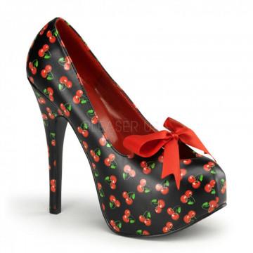 Pin Up Couture TEEZE-12-6 Blk Pu (Cherries Print)