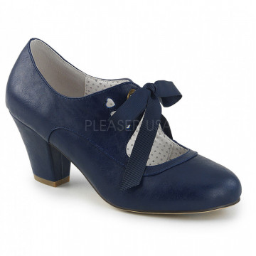 Pin Up Couture WIGGLE-32 Navy Blue Faux Leather