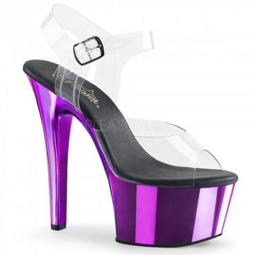Pleaser ASPIRE-608 Clr/Purple Chrome