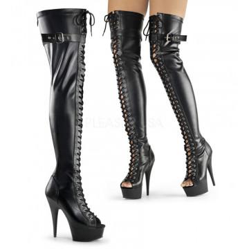 Pleaser DELIGHT-3025 Blk Str Faux Leather/Blk Matte