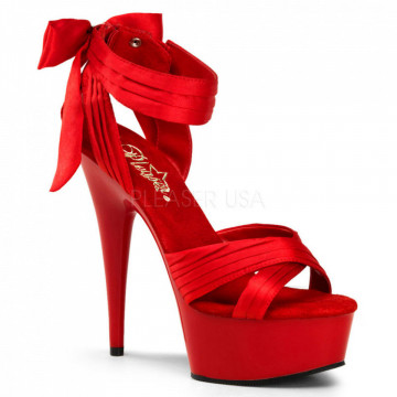 Pleaser DELIGHT-668 Red Satin/Red