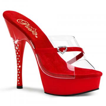 Pleaser DIAMOND-601H Clr-Red/Red