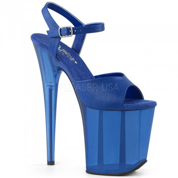 Pleaser FLAMINGO-809T Blue Faux Leather/Frosted Bl