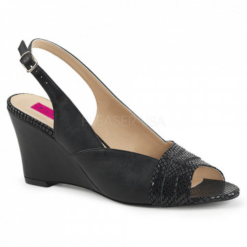 Pleaser Pink Label KIMBERLY-01SP Blk Faux Leather