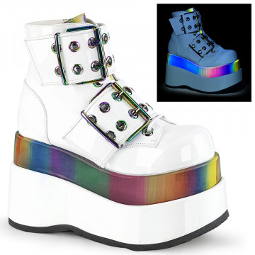Demonia BEAR-104 Wht Patent-Rainbow Reflective
