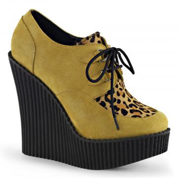 Demonia CREEPER-304 Mustard Vegan Suede-Leopard Printed Ponly Hair