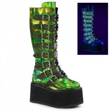Demonia DAMNED-318 Lime Green Hologram Vegan Leather