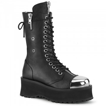 Demonia GRAVEDIGGER-14 Blk Vegan Leather