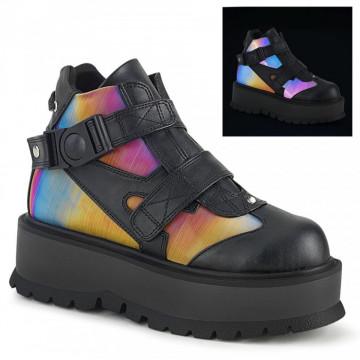 Demonia SLACKER-32 Blk Vegan Leather-Rainbow Reflective