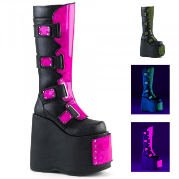 Demonia SLAY-310 Blk Vegan Leather-Neon Pink Hologram-Neon Lime Fishnet