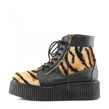 Demonia V-CREEPER-571 Blk Vegan Leather -Tiger Print Faux Fur