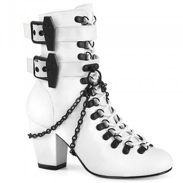Demonia VIVIKA-128 Wht Vegan Leather