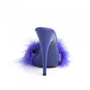 Fabulicious POISE-501F Blue Satin-Marabou Fur/Blue