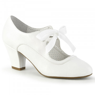 Pin Up Couture WIGGLE-32 White Faux Leather