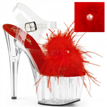 Pleaser ADORE-708MF Clr-Red Feather/Clr