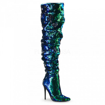Pleaser COURTLY-3011 Green Iridescent Sequins