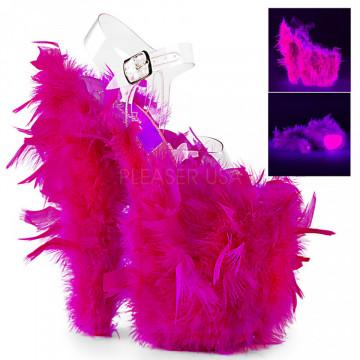Pleaser FLAMINGO-808F Clr/Neon H. Pink Marabou Fea