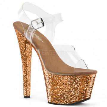 Pleaser SKY-308LG Clr/Bronze Glitter