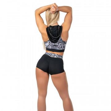 WINK POLE Dance CORETTA TOP con cappuccio W0215 Pantera