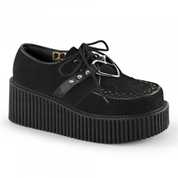 Demonia CREEPER-206 Blk Vegan Suede-Vegan Leather