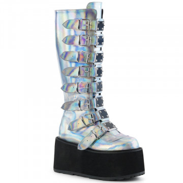 Demonia DAMNED-318 Silver Hologram Vegan Leather