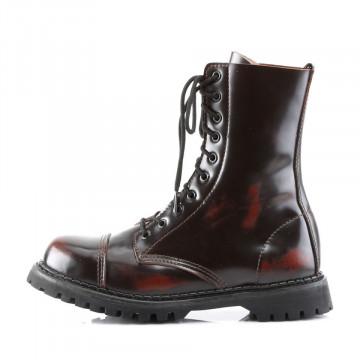 Demonia ROCKY-10 Burgundy Rub-Off Leather
