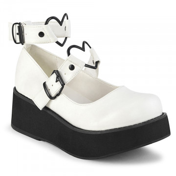 Demonia SPRITE-02 Wht Vegan Leather