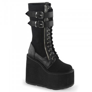 Demonia SWING-221 Blk Canvas-Vegan Leather