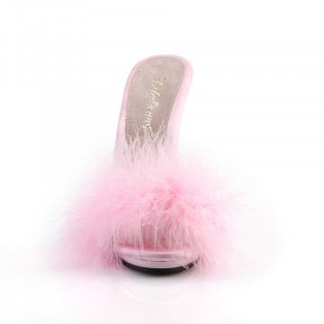 Fabulicious POISE-501F B. Pink Satin-Marabou Fur/B
