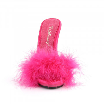 Fabulicious POISE-501F H. Pink Satin-Marabou Fur/H. Pink