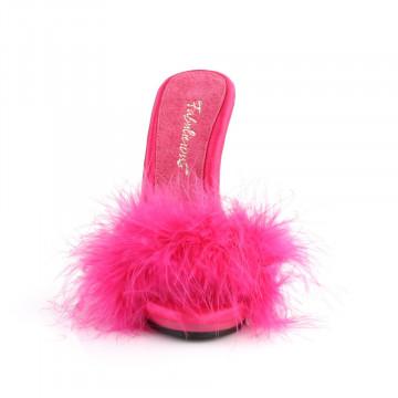Fabulicious POISE-501F H. Pink Satin-Marabou Fur/H