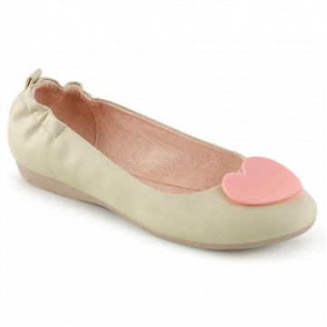 Pin Up Couture OLIVE-05 Cream Faux Leather
