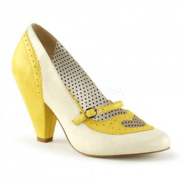 Pin Up Couture POPPY-18 Yellow-Cream Faux Leather