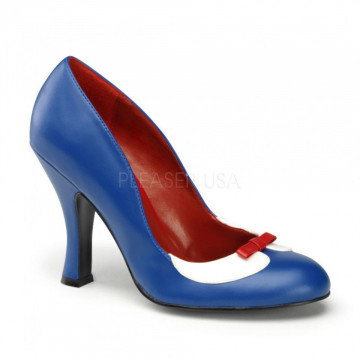 Pin Up Couture SMITTEN-05 Navy Blue-Wht Pu